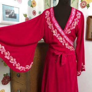 Bell Sleeve Wrap Dress, Bohemian Maxi Festival